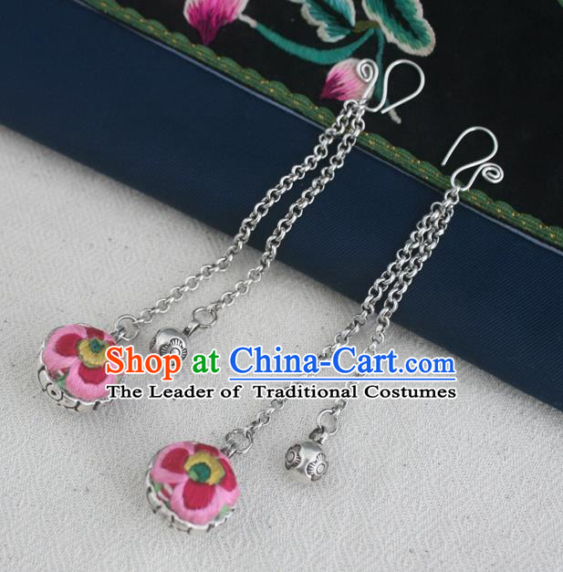 Traditional Chinese Miao Sliver Embroidered Pink Earrings Hmong Ornaments Minority Headwear for Women