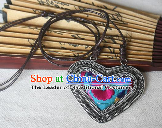 Traditional Chinese Miao Sliver Embroidered Blue Necklace Hmong Ornaments Minority Sweater Chain for Women