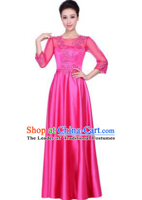 Professional Chorus Stage Performance Costume, Compere Singing Group Modern Dance Rosy Dress for Women