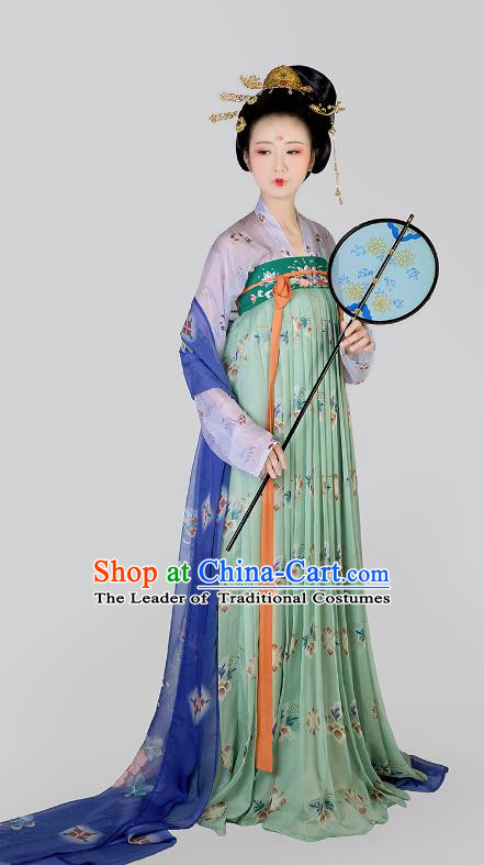 Chinese Ancient Tang Dynasty Palace Lady Maidenform Embroidered Costumes for Women