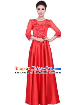 Professional Chorus Stage Performance Costume, Compere Singing Group Modern Dance Red Dress for Women