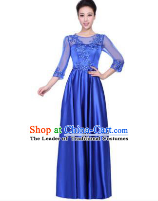 Professional Chorus Stage Performance Costume, Compere Singing Group Modern Dance Blue Dress for Women