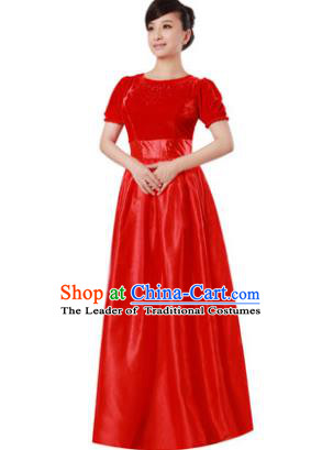 Professional Chorus Singing Group Stage Performance Costume, Compere Modern Dance Red Dress for Women