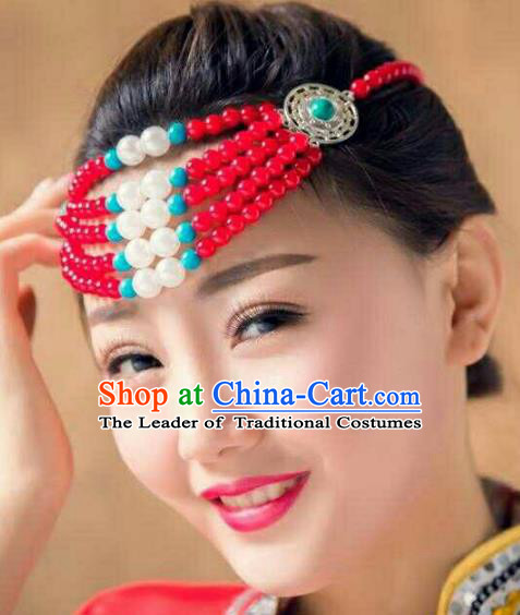 Chinese Traditional Mongol Stage Performance Hair Accessories, Mongolian Folk Dance Red Beads Headwear for Women