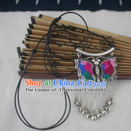Chinese Miao Sliver Traditional Butterfly Tassel Necklace Hmong Ornaments Minority Embroidered Longevity Lock Headwear for Women