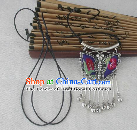 Chinese Miao Sliver Traditional Butterfly Bells Tassel Necklace Hmong Ornaments Minority Embroidered Longevity Lock Headwear for Women