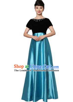 Professional Chorus Singing Group Stage Performance Costume, Compere Modern Dance Blue Dress for Women