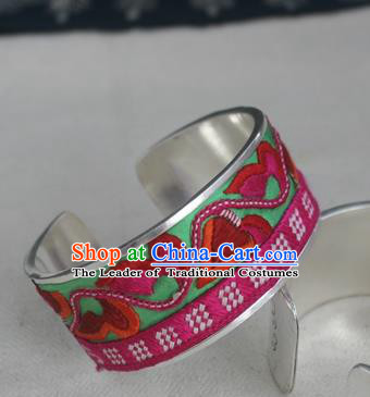 Handmade Chinese Miao Nationality Green Embroidered Flowers Sliver Bracelet Traditional Hmong Bangle for Women