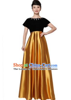 Professional Chorus Singing Group Stage Performance Costume, Compere Modern Dance Golden Dress for Women