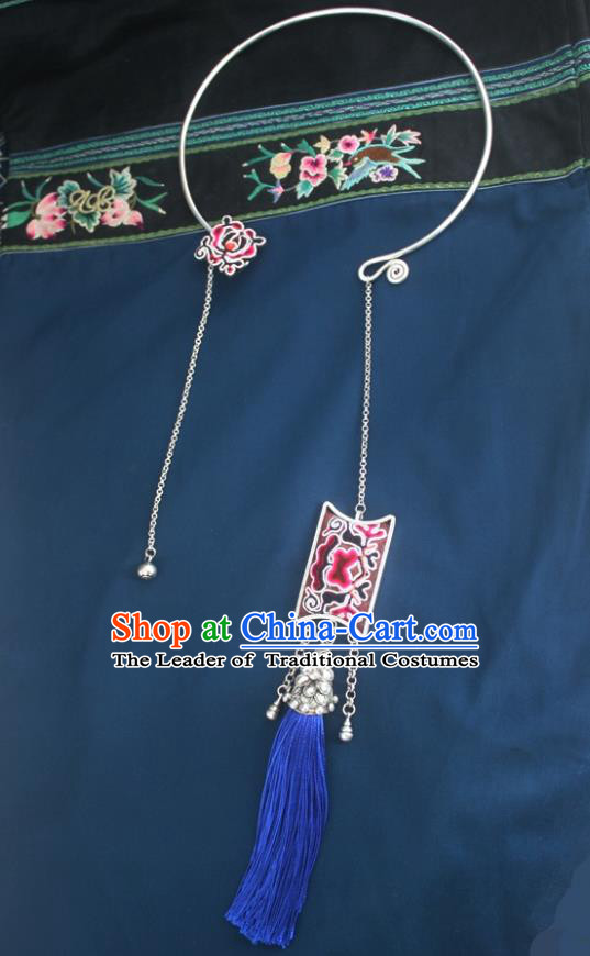 Chinese Traditional Miao Sliver Necklace Hmong Ornaments Minority Bells Tassel Longevity Lock for Women