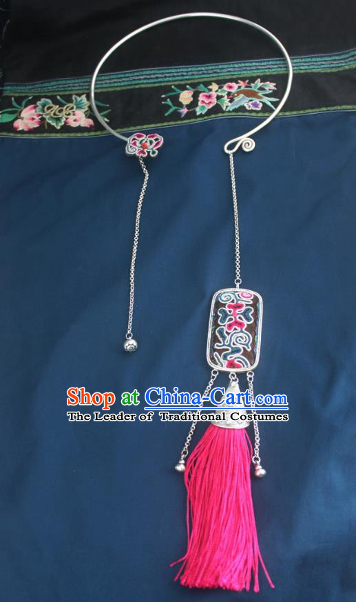 Chinese Traditional Miao Sliver Necklace Hmong Ornaments Minority Rosy Tassel Longevity Lock for Women