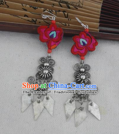 Chinese Traditional Miao Sliver Earrings Hmong Ornaments Minority Eardrop for Women