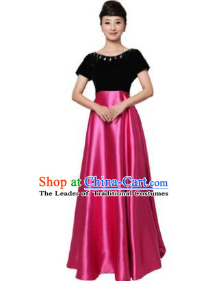 Professional Chorus Singing Group Stage Performance Costume, Compere Modern Dance Rosy Dress for Women