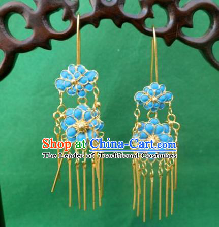 Chinese Traditional Ornaments Accessories Ancient Miao Minority Blue Flowers Earrings for Women