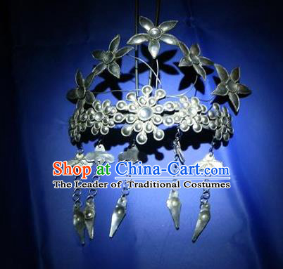 Chinese Traditional Miao Nationality Hair Accessories Miao Sliver Hair Crown Hairpins Headwear for Women