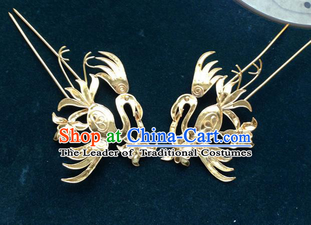 Chinese Traditional Miao Nationality Golden Hair Stick Hair Accessories Hairpins Headwear for Women