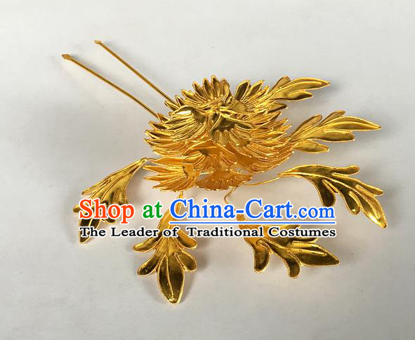 Chinese Traditional Miao Nationality Golden Chrysanthemum Hair Accessories Hairpins Headwear for Women