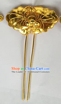 Chinese Traditional Miao Nationality Hair Clip Hair Accessories Golden Hairpins Headwear for Women