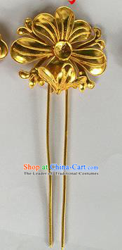 Chinese Traditional Miao Nationality Hair Clip Hair Accessories Golden Flower Hairpins Headwear for Women