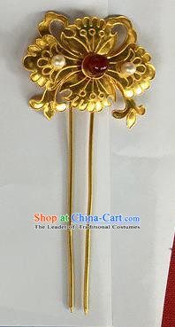 Chinese Traditional Miao Nationality Flower Hair Clip Hair Accessories Golden Hairpins Headwear for Women