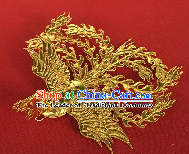 Chinese Traditional Miao Nationality Golden Phoenix Hair Clip Hair Accessories Hairpins Headwear for Women