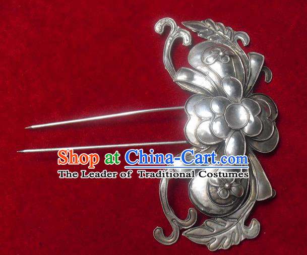 Chinese Traditional Miao Nationality Sliver Hair Clip Hair Accessories Hairpins Headwear for Women