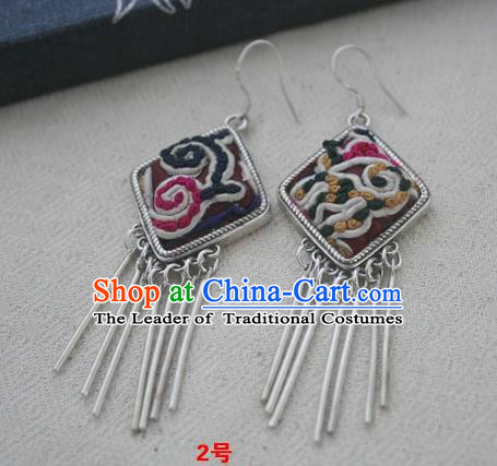 Chinese Traditional Miao Sliver Earrings Hmong Ornaments Accessories Minority Embroidered Eardrop for Women