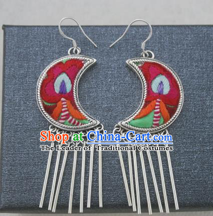 Chinese Traditional Miao Sliver Embroidered Moon Earrings Hmong Ornaments Accessories Minority Eardrop for Women