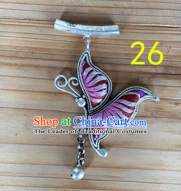 Chinese Traditional Miao Sliver Pink Butterfly Wing Hmong Ornaments Accessories Minority Necklace Pendant for Women