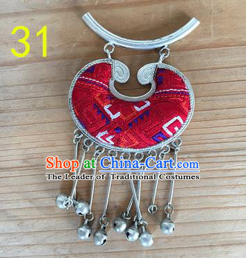 Chinese Traditional Miao Sliver Red Longevity Lock Hmong Ornaments Accessories Minority Necklace Pendant for Women