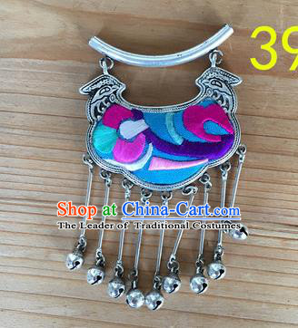 Chinese Traditional Miao Sliver Ornaments Accessories Longevity Lock Necklace Pendant for Women