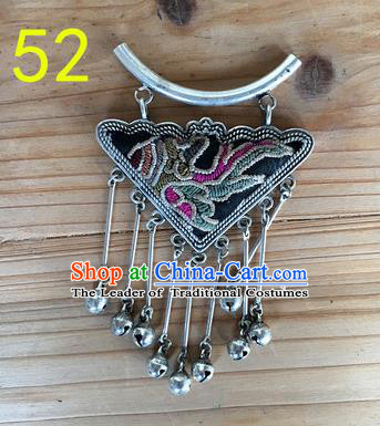 Chinese Traditional Miao Sliver Ornaments Accessories Embroidered Longevity Lock Necklace Pendant for Women
