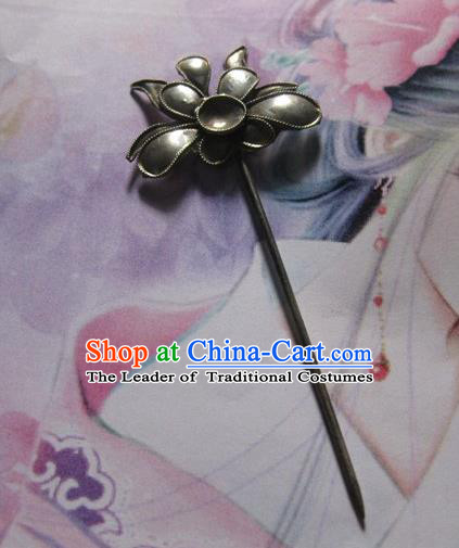 Traditional Chinese Miao Nationality Hanfu Lotus Hairpins Hair Accessories for Women
