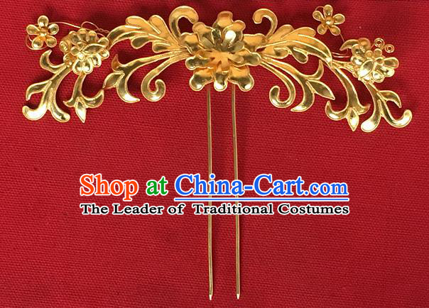 Traditional Chinese Miao Nationality Hanfu Golden Chrysanthemum Hairpins Hair Accessories for Women