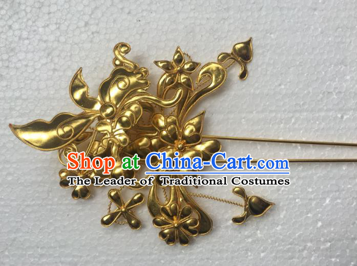 Traditional Chinese Miao Nationality Hanfu Golden Butterfly Flower Hairpins Hair Accessories for Women