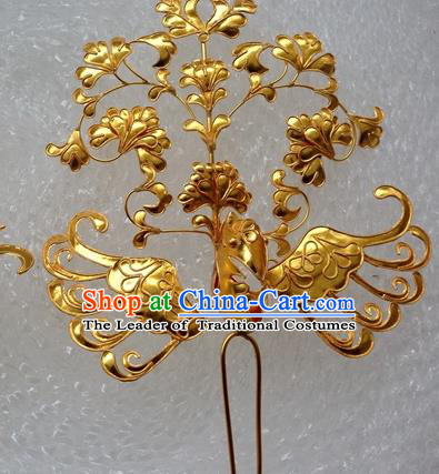Traditional Chinese Miao Nationality Hanfu Golden Phoenix Hairpins Hair Accessories for Women