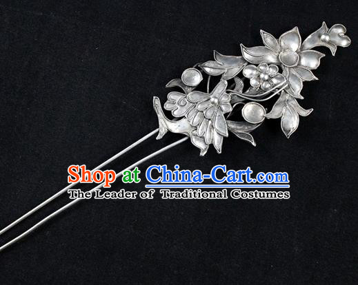 Traditional Chinese Miao Nationality Lotus Hairpins Hair Accessories for Women