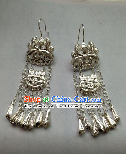 Chinese Traditional Miao Sliver Ornaments Accessories Lotus Tassel Earrings for Women