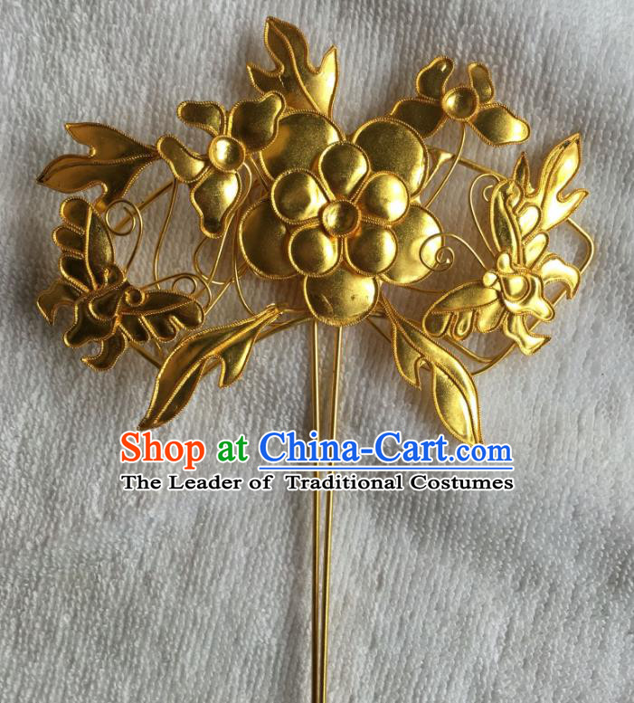 Traditional Chinese Miao Nationality Golden Butterfly Flowers Hairpins Hair Accessories for Women