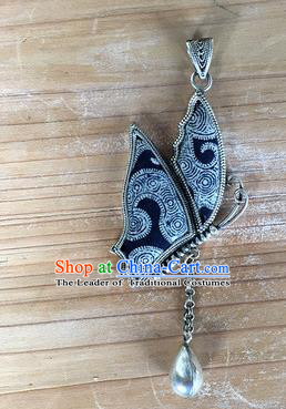 Chinese Traditional Miao Sliver Embroidered Hmong Ornaments Accessories Minority Navy Butterfly Necklace Pendant for Women