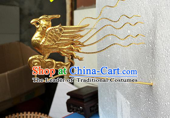 Traditional Chinese Miao Nationality Golden Hair Clip Phoenix Hairpins Hair Accessories for Women