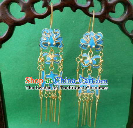Chinese Traditional Ornaments Accessories Ancient Blueing Earrings for Women
