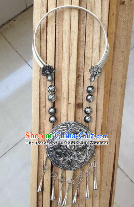 Chinese Traditional Ornaments Accessories Ancient Miao Sliver Necklace for Women