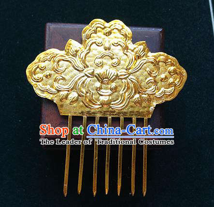 Traditional Chinese Miao Nationality Hair Accessories Golden Wedding Hair Comb Hairpins for Women