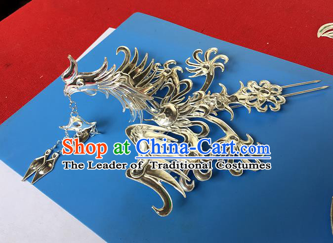 Traditional Chinese Miao Nationality Hair Accessories Tassel Step Shake Sliver Phoenix Hairpins for Women