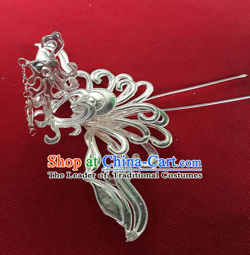 Traditional Chinese Miao Nationality Hair Accessories Sliver Phoenix Hairpins Hair Clip for Women