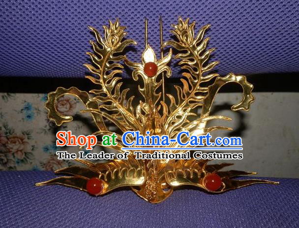 Chinese Traditional Miao Nationality Hair Accessories Golden Phoenix Hairpins Wedding Headwear for Women