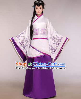 Traditional Chinese Han Dynasty Imperial Concubine Costume Ancient Princess Purple Hanfu Dress for Women