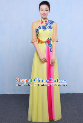 Chinese Traditional Chorus Singing Group Embroidered Costume, Compere Classical Dance Yellow Dress for Women
