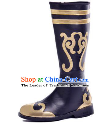 Chinese Traditional Mongols Dance Shoes, Mongolian Minority Folk Dance Boots for Men